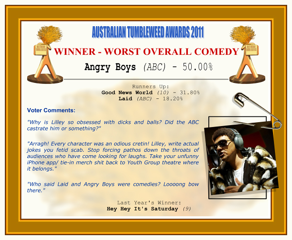 "Australian Tumbleweeds Awards 2011 - Winner - Worst Overall Comedy. Angry Boys (ABC) - 50.00%. Runners-up: Good News World (10) - 31.80%, Laid (ABC) - 18.20%. Voter Quotes: ""Why is Lilley so obsessed with dicks and balls? Did the ABC castrate him or something?"" ""Arragh! Every character was an odious cretin! Lilley, write actual jokes you fetid scab. Stop forcing pathos down the throats of audiences who have come looking for laughs. Take your unfunny iPhone app/ tie-in merch shit back to Youth Group theatre where it belongs."" ""Who said Laid and Angry Boys were comedies? Loooong bow there."" Last Year's Winner: Hey Hey It's Saturday (9)."