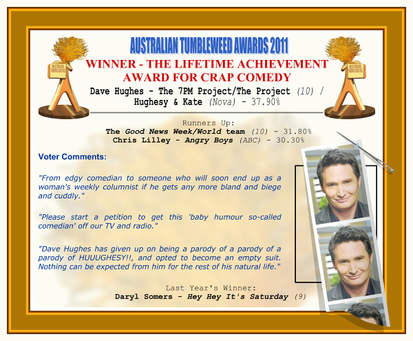 "Australian Tumbleweeds 2011 - Winner - The Lifetime Achievement Award for Crap Comedy. Dave Hughes - The 7PM Project/The Project (10) / Hughesy & Kate (Nova) - 37.90%. Runners-Up: The Good News Week/World team (10) - 31.80%, Chris Lilley - Angry Boys (ABC) - 30.30%. Voter Quotes: ""From edgy comedian to someone who will soon end up as a woman's weekly columnist if he gets any more bland and biege and cuddly."" ""Please start a petition to get this 'baby humour so-called comedian' off our TV and radio."" ""Dave Hughes has given up on being a parody of a parody of a parody of HUUUGHESY!!, and opted to become an empty suit. Nothing can be expected from him for the rest of his natural life."" Last Year's Winner: Daryl Somers - Hey Hey It's Saturday (9)."