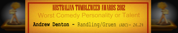 Australian Tumbleweed Awards 2012 - Worst Comedy Personality or Talent - Runner-Up: Andrew Denton - Randling/Gruen (ABC) - 26.2%