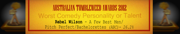 Australian Tumbleweed Awards 2012 - Worst Comedy Personality or Talent - Runner-Up: Rebel Wilson - A Few Best Men/Pitch Perfect/Bachelorettes (Film) - 27.7%
