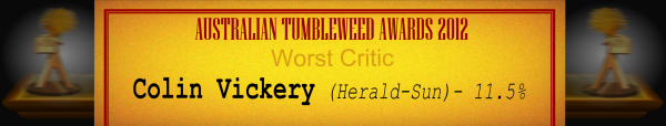 Australian Tumbleweed Awards 2012 - Worst Critic - Runner-Up: Colin Vickery (Herald-Sun) - 11.5%
