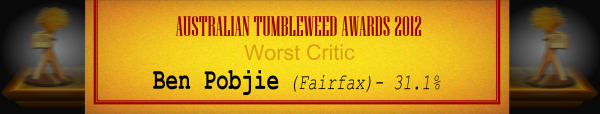 Australian Tumbleweed Awards 2012 - Worst Critic - Runner-Up: Ben Pobjie (Fairfax) - 31.1%