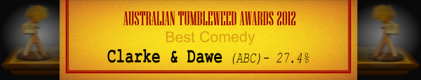 Australian Tumbleweed Awards 2012 - Best Comedy - Runner-Up: Clarke & Dawe (ABC) - 27.4%