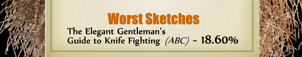 Worst Sketches - RUNNER UP: The Elegant Gentleman's Guide to Knife Fighting (ABC) - 18.60%