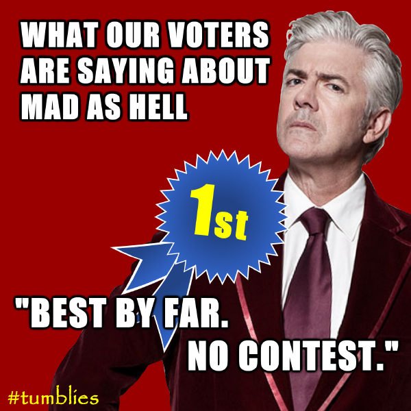 "What our voters are saying about Mad As Hell: ""Best by far. No contest."""