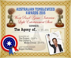Australian Tumbleweed Awards 2015 – Worst Panel/Game/Interview/Light Entertainment Show – Winner – The Agony of – 37.65%. Last Year's Winner: Bogan Hunters