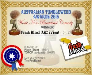 Australian Tumbleweed Awards 2015 – Worst Non-Broadcast Comedy – Winner – Fresh Blood – 21.57%. Last Year's Winner: The PodRoast