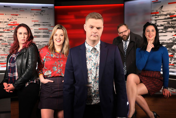 The cast of Tonightly with Tom Ballard