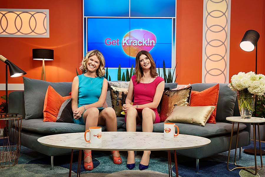Kate McLennan and Kate McCartney on the set of Get Krack!n