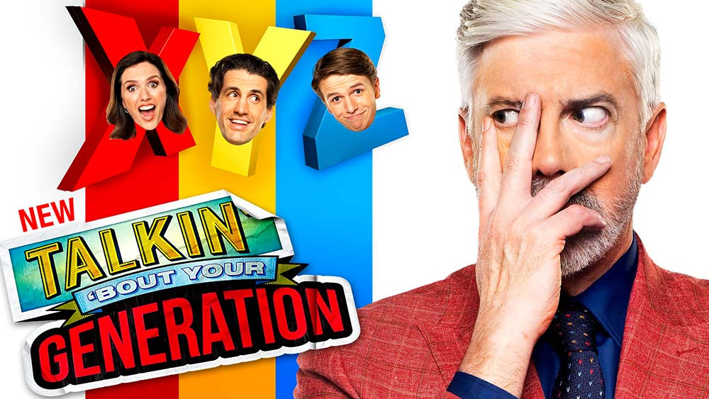 Shaun Micallef cover his face with his hands next to the Talkin' 'bout Your Generation Logo and headshots of the shows' team captains superimposes over their team names: X, Y and Z