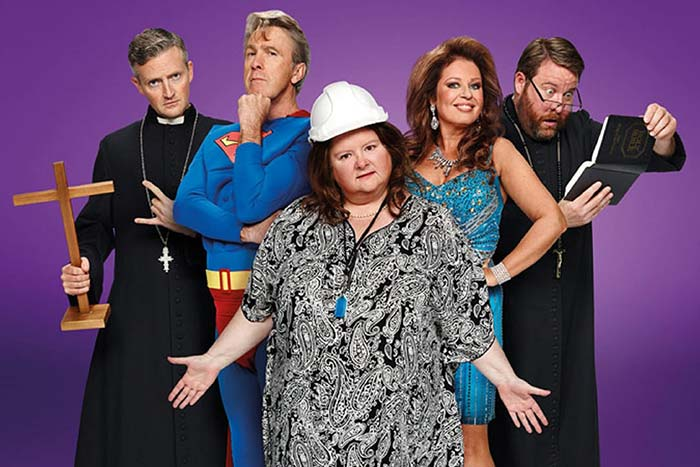 The cast of Open Slather in character