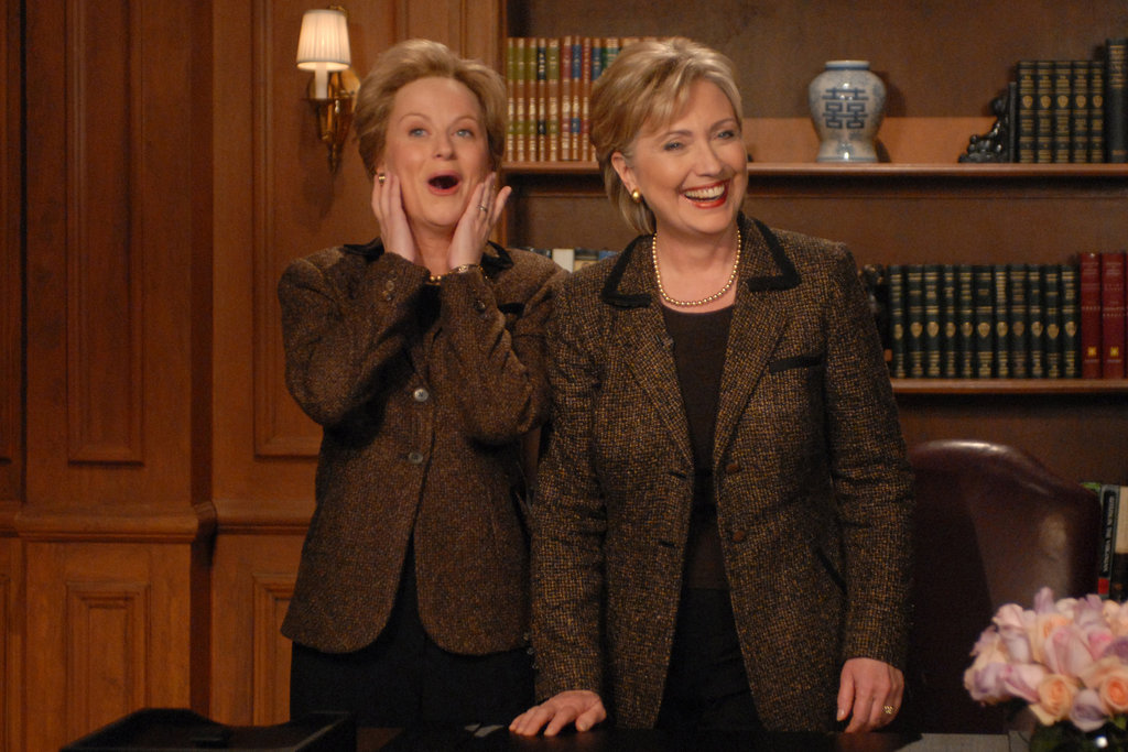 Kate McKinnon as Hillary Clinton with the real Hillary Clinton
