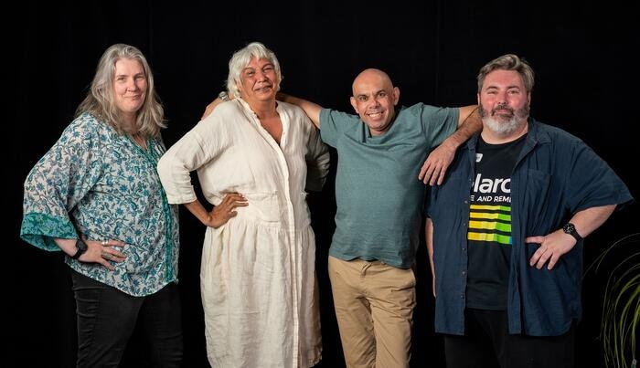 The cast and crew of History Bites Back: Elaine Crombie, Trisha Morton-Thomas, Steven Oliver and Craig Anderson